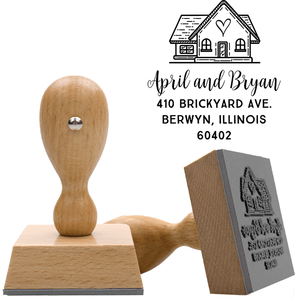 Home is Where the Heart is European Wood Handle Address Stamp Body and Design