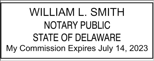 Official Delaware Rectangle Notary Public Stamp Seal