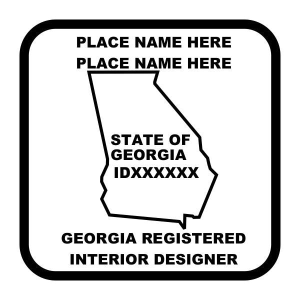 State of Georgia Interior Designer Square Stamp Imprint