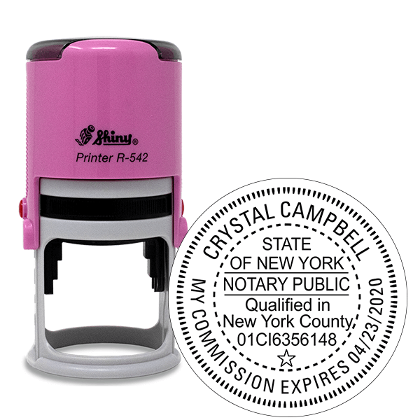 New York Notary with County and Expiration Pink Stamp - Round