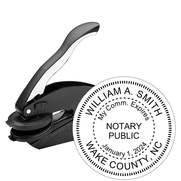 North Carolina Notary With Expiration Date Round Seal Embosser