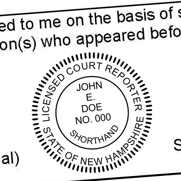 State of New Hampshire Licensed Court Reporter Seal In Use