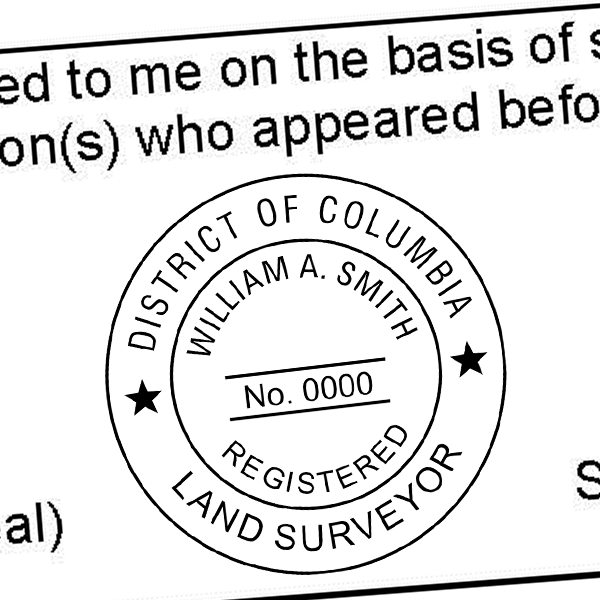 District of Columbia Land Surveyor Seal Imprint