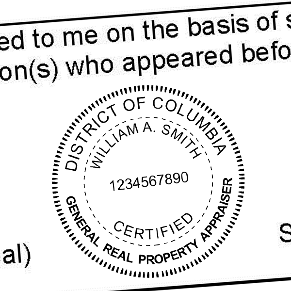 District of Columbia Real Estate Appraiser Seal Imprint