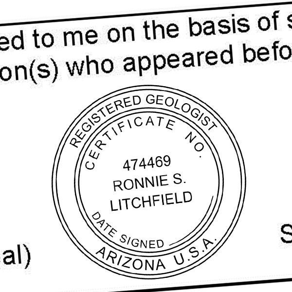 State of Arizona Geologist Seal Imprint