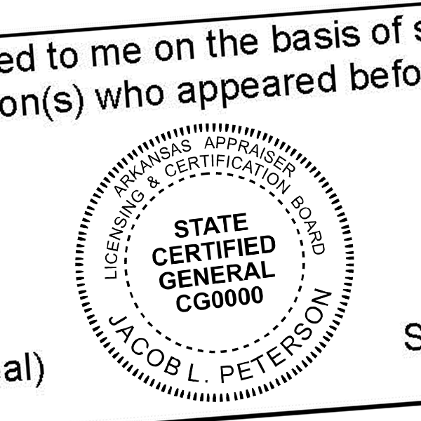 State of Arkansas  Certified General Appraiser Seal Imprint