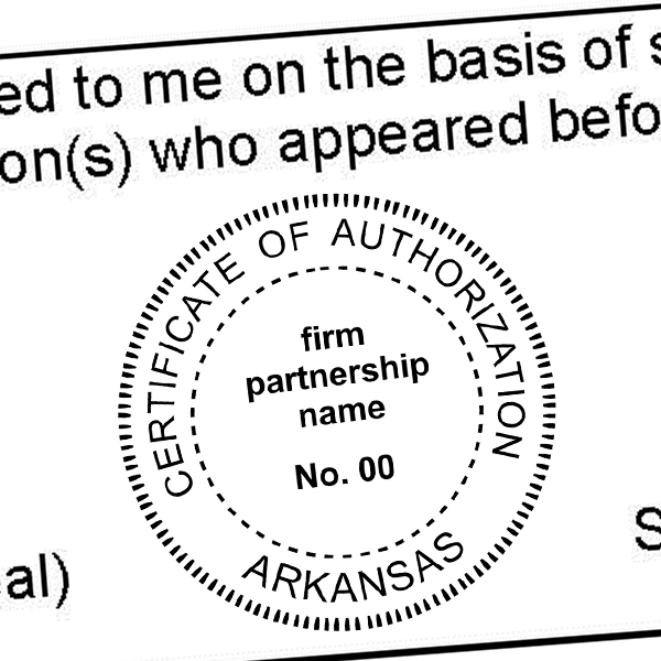 State of Arkansas Firm Authorization Seal Imprint