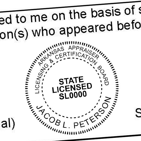 State of Arkansas Licensed Appraiser Seal Imprint