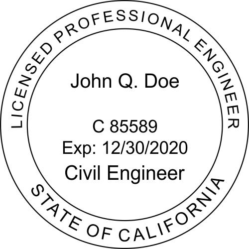 California Engineer Civil Engineer Stamp Seal