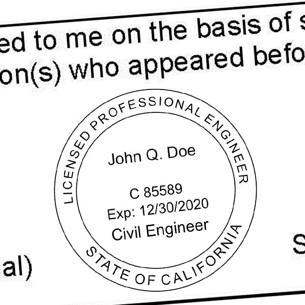 State of California Civil Engineer Seal Imprint