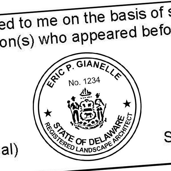 State of Delaware Landscape Architect Seal Imprint