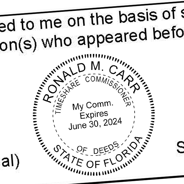 State of Florida Commissioner of  Time Share Deeds Seal Imprint