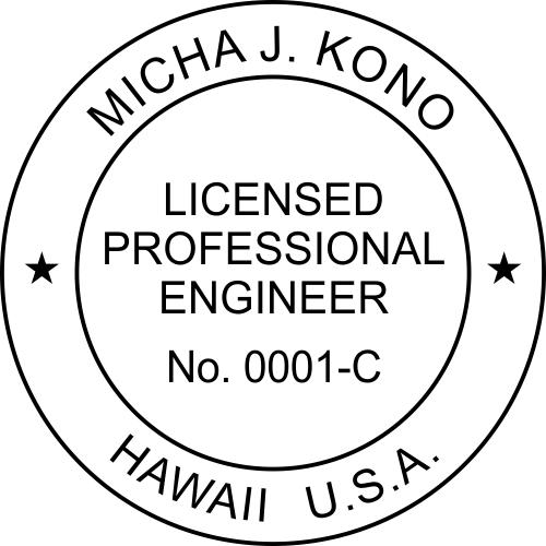 Hawaii Engineer Stamp Seal