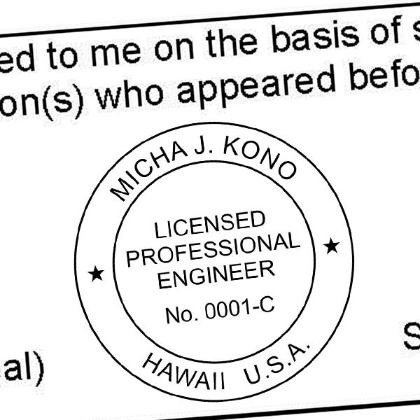 State of Hawaii Engineer Seal Seal Imprint
