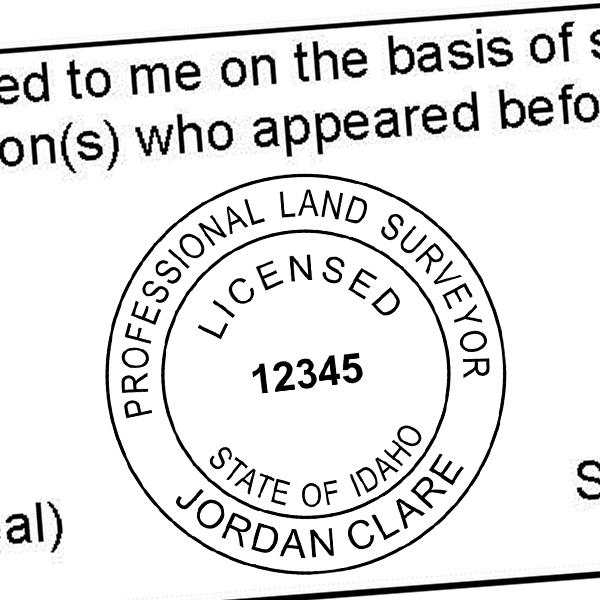 State of Idaho Land Surveyor Seal Imprint