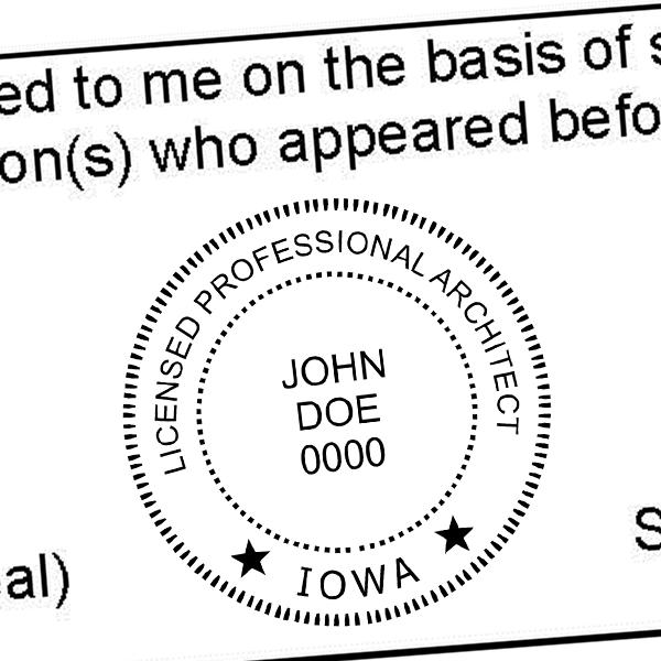 State of Iowa Architect Seal Imprint