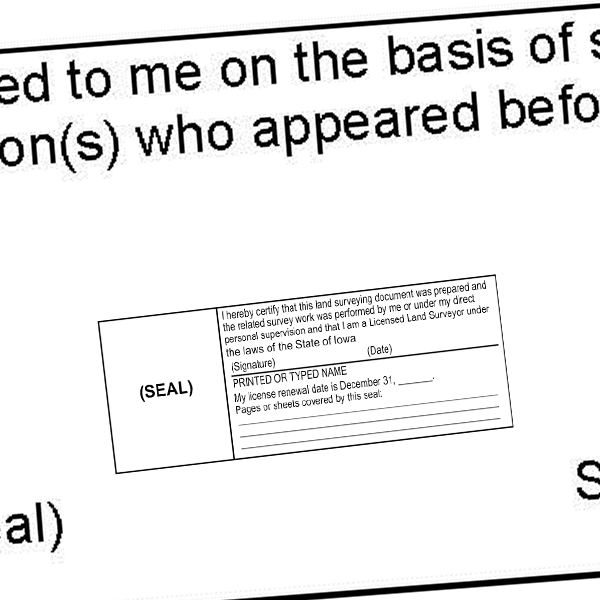 State of Iowa Land Surveyor Document Stamp Seal Imprint