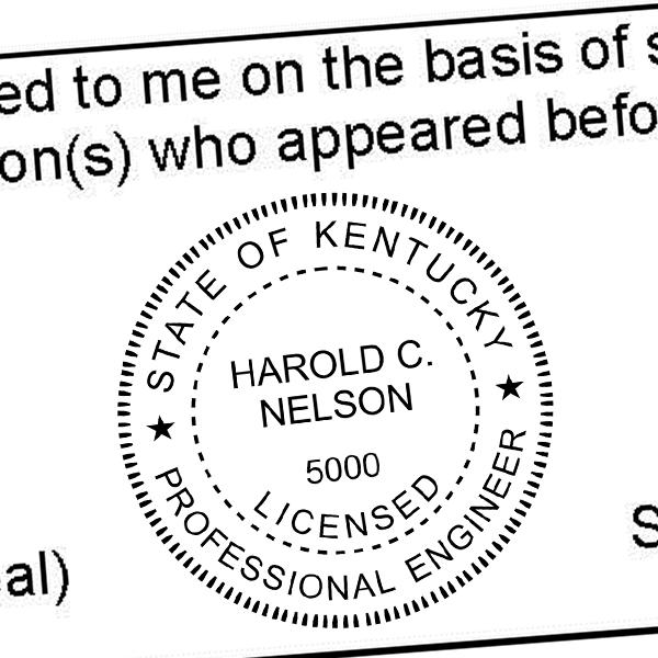 State of Kentucky Engineer Seal Seal Imprint