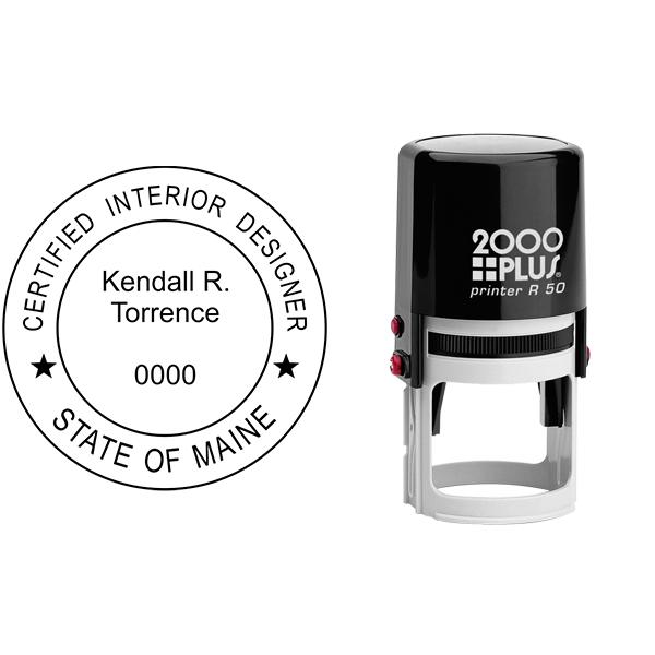 State of Maine Interior Designer Stamp Seal Body and Imprint