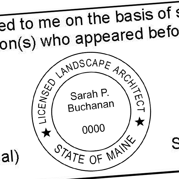 State of Maine Landscape Architect Stamp Seal Imprint