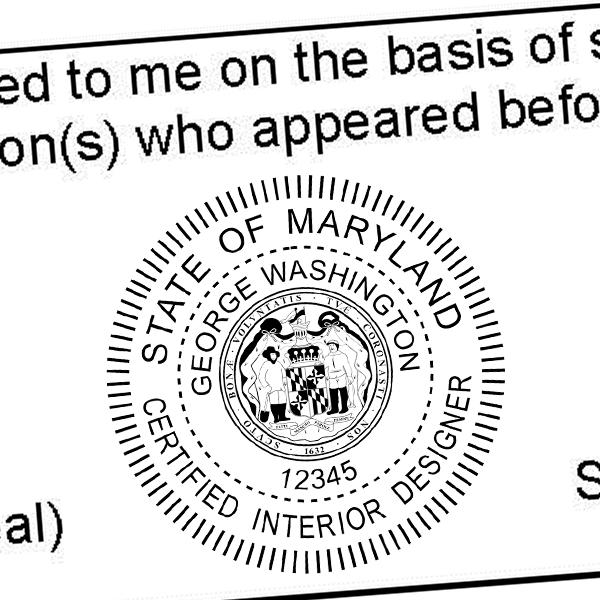 State of Maryland Interior Designer Seal Imprint