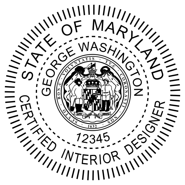 State of Maryland Interior Designer Seal Body and Imprint