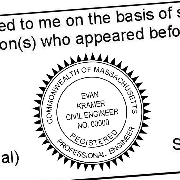 State of Massachusetts Engineer Seal Imprint