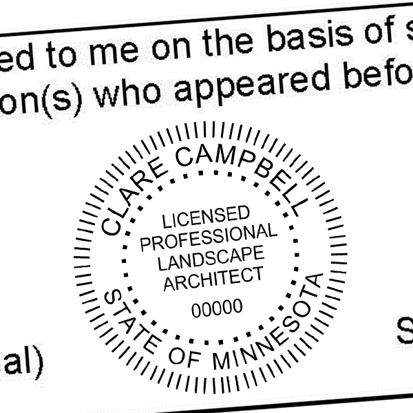 State of Minnesota Landscape Architect Seal Imprint