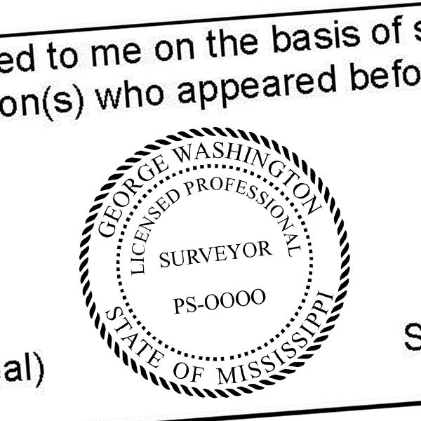 State of Mississippi Surveyor Seal Imprint