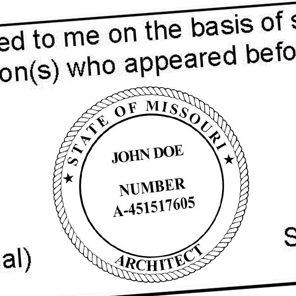 State of Missouri Architect Seal Imprint