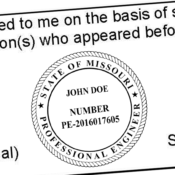 State of Missouri Engineer Seal Seal Imprint