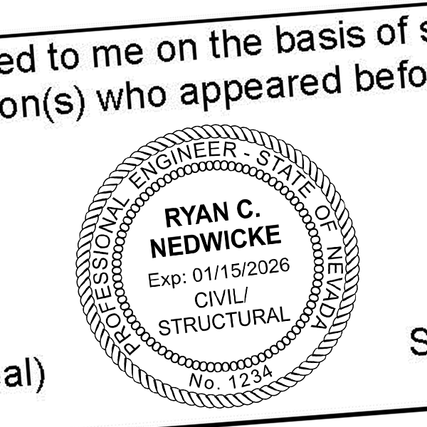 State of Nevada Civil Structural Engineer Seal Imprint