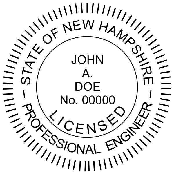 State of New Hampshire Engineer Seal Imprint