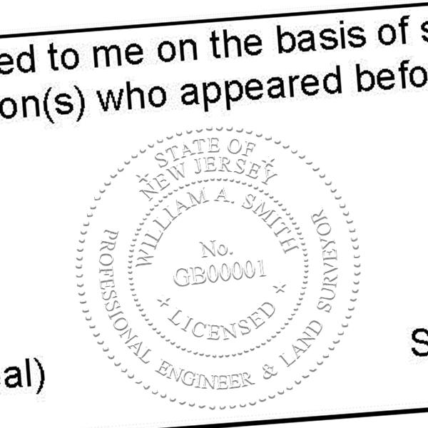 State of New Jersey Professional Engineer & Land Surveyor Seal Imprint
