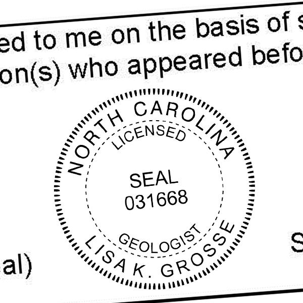 State of North Carolina Geologist Seal Imprint