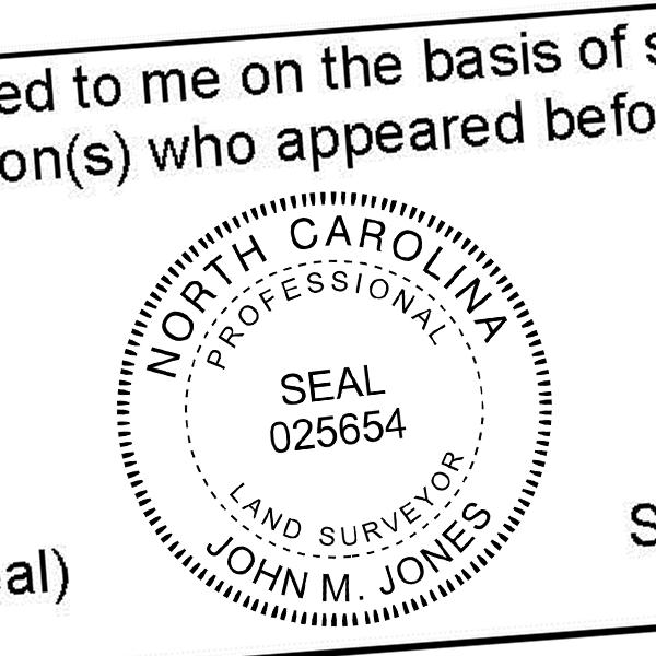 State of North Carolina Land Surveyor Seal Imprint