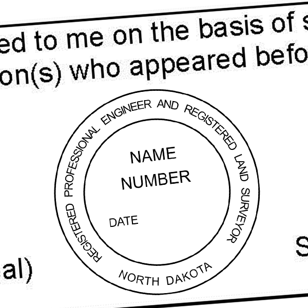 State of North Dakota Land Engineer & Surveyor Seal Imprint