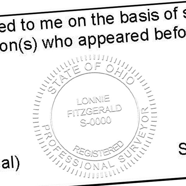 State of Ohio Land Surveyor Embosser Seal Imprint