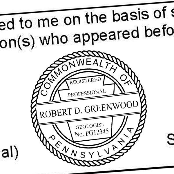 State of Pennsylvania Geologist Seal Imprint