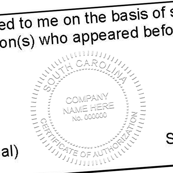 State of South Carolina Certificate of Authorization Seal Imprint