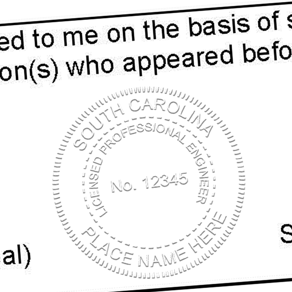 State of South Carolina Engineer Seal Seal Imprint