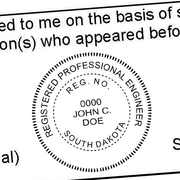 State of South Dakota Engineer Seal Seal Imprint