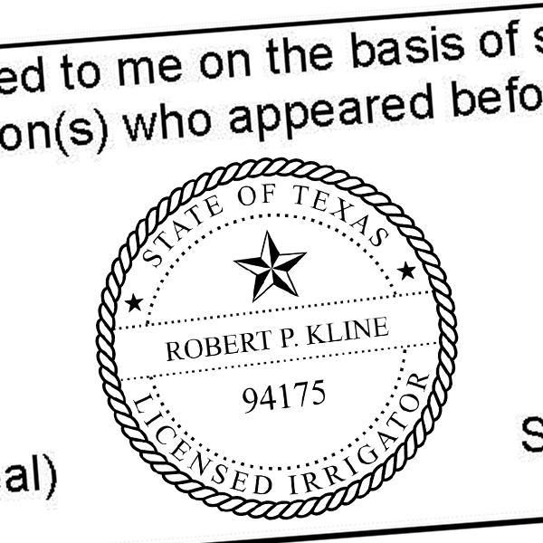 State of Texas Irrigator Seal Imprint