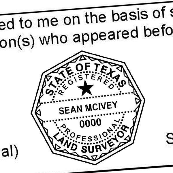 State of Texas Land Surveyor Seal Imprint