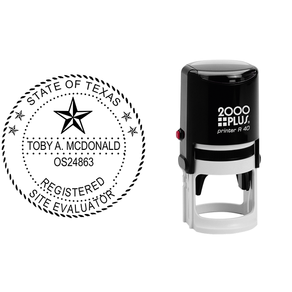 State of Texas Site Evaluator Seal Body and Imprint