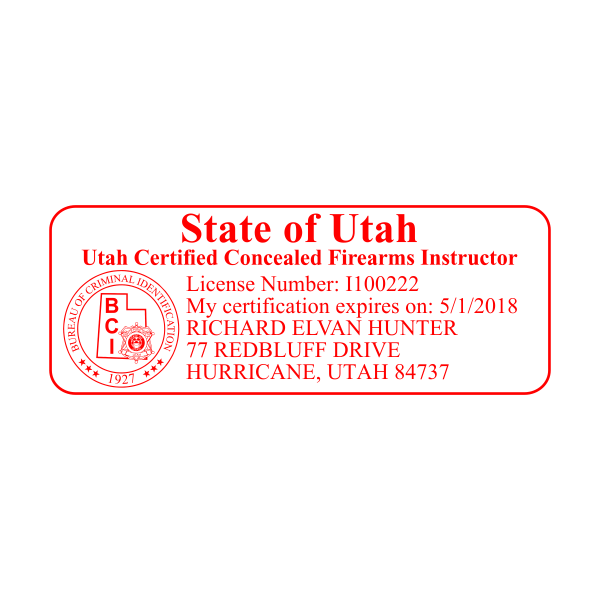 State of Utah Concealed Firearms Instructor
