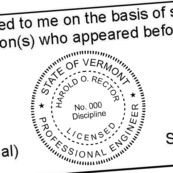 State of Vermont Engineer Seal Seal Imprint