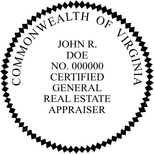 Virginia Certified General Real Estate Appraiser Stamp Seal