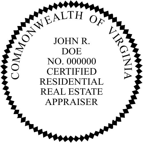 Virginia Certified Residential Real Estate Appraiser Stamp Seal