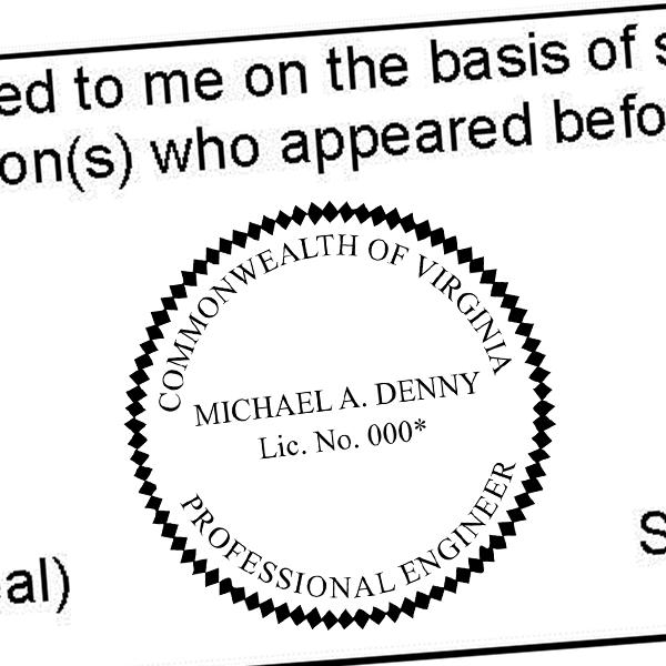 State of Virginia Engineer Seal Imprint